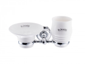 SJ625 PORCELAIN SOAP DISH, TUMBLER & HOLDER Настенная мыльница и стакан