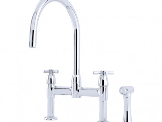 IO TWO HOLE SINK MIXER WITH CROSSHEAD HANDLES AND RINSE  PHOENICIAN SINK MIXER WITH FILTRATION, LEVER HANDLES AND RINSE 1560