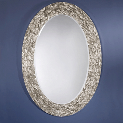 Tindle Oval Mirror with decorative Silver Frame