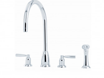 CALLISTO FOUR HOLE SINK MIXER WITH 'C' SPOUT AND LEVER HANDLES AND RINSE 4891