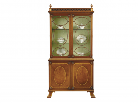 Titchmarsh & Goodwin Mahogany Display Cabinet with Fine Satinwood Banding